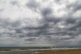 dark clouds over sea