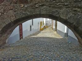 street under aqueduct - Portugal